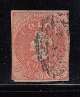 Chile Used Scott #14 5c Christopher Columbus - Close Cut At Right - Chili
