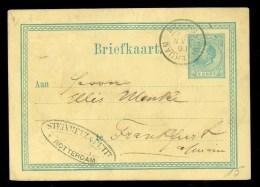 HANDGESCHREVEN BRIEFKAART Uit 1877 GELOPEN Van AMSTERDAM Naar FRANKFURT  DEUTSCHLAND * NVPH NR 19 VOORDRUK (9700g) - Postal Stationery