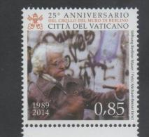 VATICAN, 2014, MNH, 25TH ANNIVERSARY OF THE FALL OF THE BERLIN WALL, 1v - Histoire