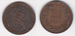 PAYS BAS  NEDERLAND  : 2 CENTS 1/2 1898 Bronze  (voir Scan) - 2.5 Cent