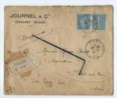 Enveloppe 1933 - Journel & Cie Chauny - R(recommandée) Chauny N°160 -Cachet De Cire - Journel & Cie - Chauny - Vieux Papiers