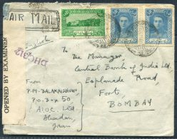 1945 Persia Abadan Censor Airmail Cover - Central Bank Of India Bombay India - Iran