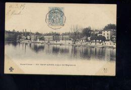 """CPA (87) Saint-Junien  -  Quai des Megisseries - Cachet ondul� convoyeurs ligne """"Angoul�me � Limoges"""