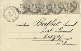 Bande De 5 Du 1C Blanc Obl.CHAUMONT Pour LUZY Hte Marne 1902 - Briefe U. Dokumente