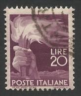 Italy, 20 L. 1945, Sc # 474, Mi # 700, Used. - 5. 1944-46 Lieutenance & Umberto II