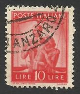 Italy, 10 L. 1947, Sc # 487, Mi # 698, Used. - 5. 1944-46 Lieutenance & Umberto II