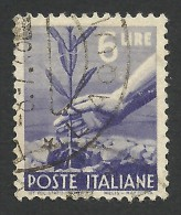 Italy, 6 L. 1947, Sc # 472A, Mi # 695, Used. - 5. 1944-46 Lieutenance & Umberto II