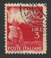 Italy, 3 L. 1945, Sc # 471, Mi # 692, Used. - 5. 1944-46 Lieutenance & Umberto II