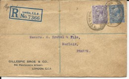 GB - 1927 - ENVELOPPE RECOMMANDEE De LONDON Pour MORLAIX - 1902-1951 (Rois)