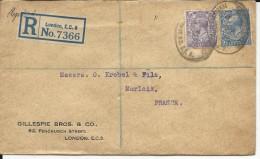 GB - 1927 - ENVELOPPE RECOMMANDEE De LONDON Pour MORLAIX - 1902-1951 (Kings)