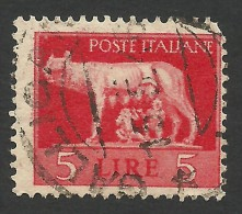 Italy, 5 L. 1945, Sc # 458, Mi # 680Z, Used. - 5. 1944-46 Lieutenance & Umberto II