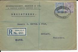 GB - 1928 - PERFORES B.B AND C Sur ENVELOPPE RECOMMANDEE De LONDON Pour MORLAIX - 1902-1951 (Rois)