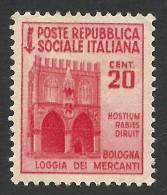 Italy, Social Republic, 20 C. 1944, Sc # 18, Mi # 653Y, MH - 4. 1944-45 Social Republic