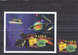 Espace - Comètes - Pierres Peécieuses - Zaïre - COB 1534 + Bloc 80 ** - MNH - Valeur 40 Euros - Zaïre