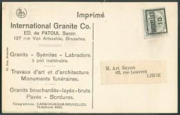 N°81  - 1 Centime PREO BRUXELLES 10 Sur C.P. (International Granite Labradors Pavés, ...) Vers Liège - 10455 - Precancels