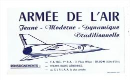 BUVARD - Publicité ARMEE DE L´AIR - F.A. TAC 1re R.A. PLACE WILSON Dijon Côte D´Or 21 - Avion - Sports