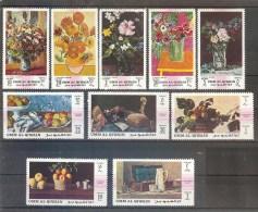 UMM Al QIWAIN  Flowers,painting Set 10 Stamps   MNH - Plants