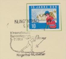 Sp 378) DDR Mi# 1069 B (!!!) O EF Winterurlauberin Skistöcke, SSt Klingenthal 6.1.1968; X. Internat. Damenskirennen Ski - Hiver