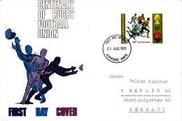 Großbritannien 1971 MiNr.582  FDC ;  100 Jahre Rugby- Fußball- Verband - 1971-1980 Dezimalausgaben