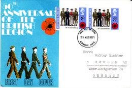 Großbritannien 1971 MiNr.580  FDC  ; 50 Jahre Britische Legion - 1971-1980 Dezimalausgaben