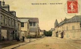 78-Bonnières-Avenue De Paris-Carte Toilée Couleur-animée,commerces - Bonnieres Sur Seine
