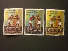 """ZAIRE  *  *  De  1974      """"    Match De Boxe G.Foreman / M. Ali      """"     N° 843 , 846 , 847 ,849 .     4 Val . - Zaïre"""