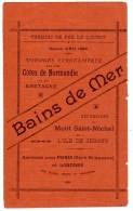 Dépliant 4 Volets : Bains De Mer, Chemin De Fer De L´Ouest, Côtes De Normandie, Bretagne, Mont-Saint-Michel - Publicités