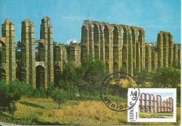 Spain Maxicard – España Tarjeta Máxima Con Sello Personalizado Del Acueducto Romano De Los Milagros De Mérida - Monumenti