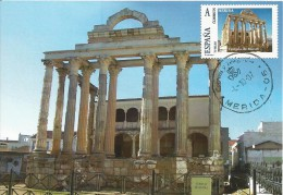 Spain Maxicard – España Tarjeta Máxima Con Sello Personalizado Del Templo De Diana De Mérida - Archeologia