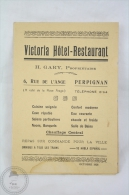Old 1926 Tourism Brochure: France, Victoria Hotel Restaurant - Folletos Turísticos