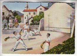 SPORT REGIONAL  ( Pays Basque ) PELOTE BASQUE Illustrateur NERLO - Jolie CPSM Dentelée Colorisée GF 1 Peu Fréquente 1956 - Cartes Postales