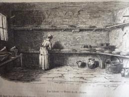 Ferme De Brie, Laiterie, Fromagerie, Presse A Fromage, Baratte, Gravure Tamisier Dessin Jacque 1854 Avec Texte / 5 Pages - Historical Documents