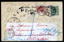 A3037) Belgien Belgium Prachtvolle Ansichtskarte Von Hannover 1897 Mit Nachsendung Und Taxe-Marke - Portomarken