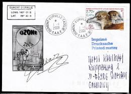 """ANTARCTIC, TAAF, D´URVILLE, 1.1.2001, 2  Cachets """"OZONE"""" + Signature, Look Scan !! 17.2-09 - Antarctische Expedities"""