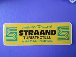 HOTEL HOTELLI HOTELL HOTELLET TELEMARK STRAAND VRADAL NORVEGE NORWAY NORGE DECAL LUGGAGE LABEL ETIQUETTE AUFKLEBER - Hotel Labels