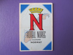 HOTEL HOTELLI HOTELL HOTELLET PENSION NOREG AALESUND NORVEGE NORWAY NORGE DECAL LUGGAGE LABEL ETIQUETTE AUFKLEBER - Hotel Labels