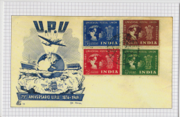 India 2015  RE-PRINTED By P&T  U.P.U.  4v  FDC ON Glossy Post Card   # 60082  Inde  Ind - UPU (Universal Postal Union)
