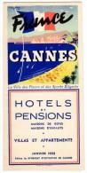 Dépliant Touristique Cannes, Hotels Et Pensions, Villas Et Appartements ( Adresses Et Plan ) - Dépliants Touristiques