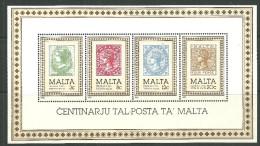 Malte Bloc De Feuille Neufs Sans Charniére, MINT NEVER HINGED, CENTENARY OF MALTA POST OFFICE - Malta