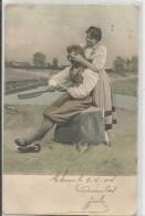 2 CARTES FANTAISIES  COUPLES (une Sur Patin à Glace) - Belges - N°717 Et 702 - Phantasie