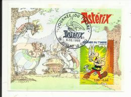 """Bloc Feuillet N° 22 , Journée Du Timbre , Astérix , 1999 , Avec Cachet Premie Jour Du 6.03.1999 """" 16 JUILLAC LE COQ """" - Blokken En Velletjes"""