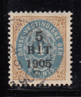 Danish West Indies Used Scott #40 5b On 4c Numeral - Danemark (Antilles)
