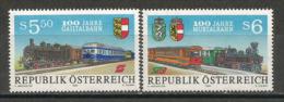 AUTRICHE: Mur Valley Railway & Gailtalbahn Railway Narrow-gauge. (Centenaire)  2 T-p Neufs ** - Trains