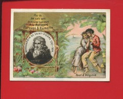 CAMBRAI DUROYON RAMETTE TRES JOLIE CHROMO DOREE LITTERATURE BERNARDIN ST PIERRE PAUL VIRGINIE MADAGASCAR - Kaufmanns- Und Zigarettenbilder
