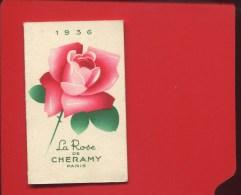 ROSE DE CHERAMY PARIS  COIFFEUR GEORGES  RUE DU CHERCHE MIDI CALENDRIER POCHE 1936 EN TRES BON ETAT - Kalenders
