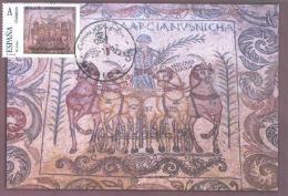 Spain Maxicard – España Tarjeta Máxima Con Sello Personalizado Del Mosaico Romano De Los Aurigas De Mérida - Vetri & Vetrate