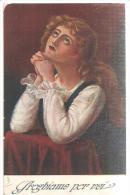 81568)cart.donna Che Prega Viaggiata Da Caltagirone A San Michele Di Ganzaria - Christendom
