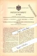 Original Patent - Konrad Von Meyenburg In Schipf Herrliberg B. Zürich , 1893, Geschwindigkeitsapparat Für Motorfahrzeuge - ZH Zürich