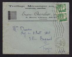 """6F Marianne De Gandon / Enveloppe Entete """" Treillage - Bois E. CHEVALIER """" AUTUN - SAONE ET LOIRE 10.1947 - Marcophilie (Lettres)"""