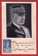 N° 473 -  Petain / Carte Maximum Mal PETAIN à SAINT ETIENNE 01.03.1942 / Illustration Sur Soie - 1941-42 Pétain